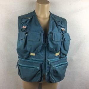 Columbia Blue Sleeveless Utility Pocket Field Vest